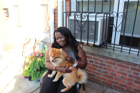 My sister Virgie and Simba! I love that dog!