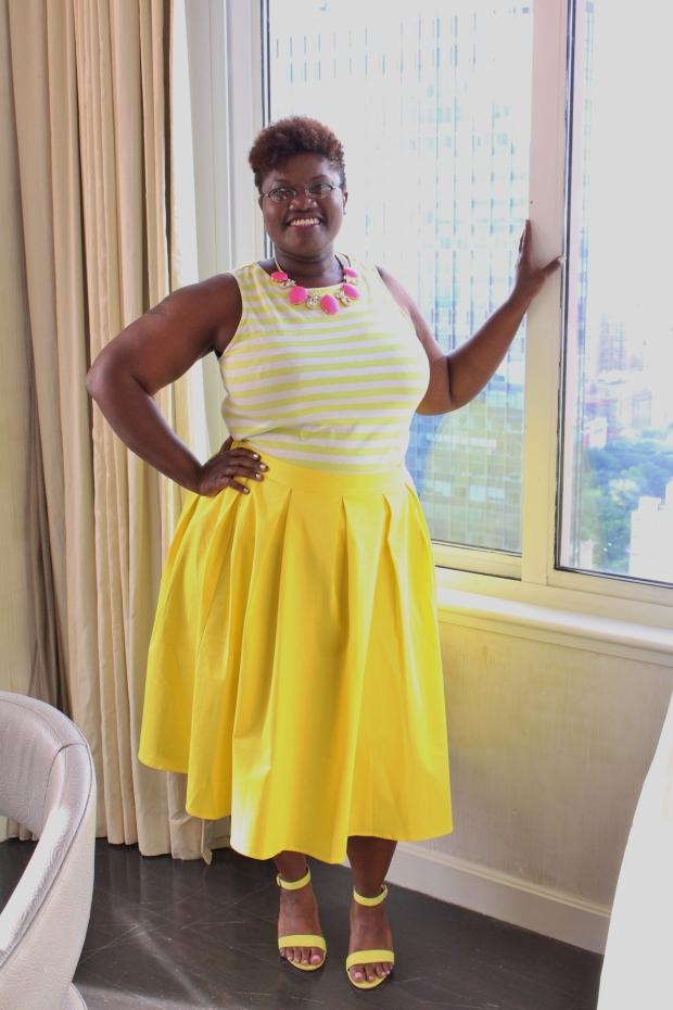 curvy women, eloquii, midi skirts, plus size skirts, plus size fashion, color blocking, ann taylor loft, old navy sandals, ankle strap sandals, curvy girls, full figure fashion week 2014, statement necklaces, curvy, curvy blogs, curvy bloggers, plus size blogs, plus size bloggers