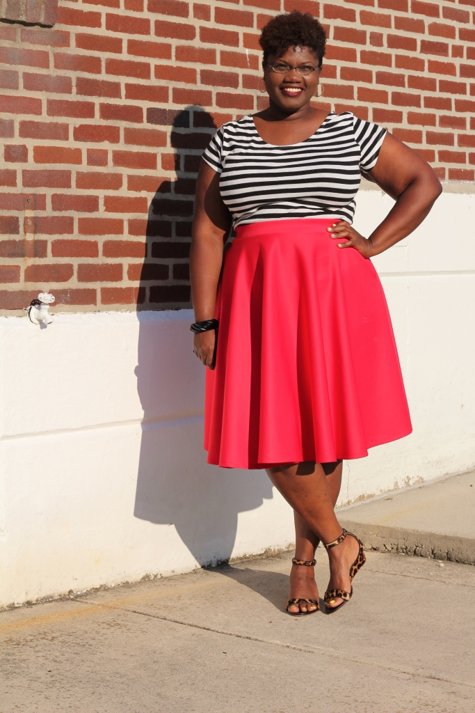curvy women, curvy girls, curvy, plus size skirts, midi skirts from asos, asos, red, stripes, color blocking, wedge sandals, ankle strap sandals, leopard print, pattern mixing, curvy bloggers, curvy blogs, jcrew