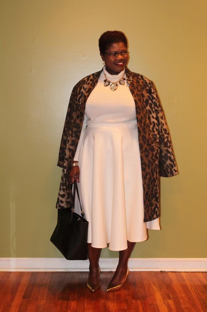 curvy women, curvy, curvy girls, plus size coats, leopard print, leopard print coat, statement necklace, babuble bar, monochromatic, monochromatic outfit, plus size fashion, plus size work wear, midi skirt, modest dressing, modest outfits, statement coat, plus size bloggers, plus size blogs, curvy blogs, curvy bloggers, grown and curvy woman blog