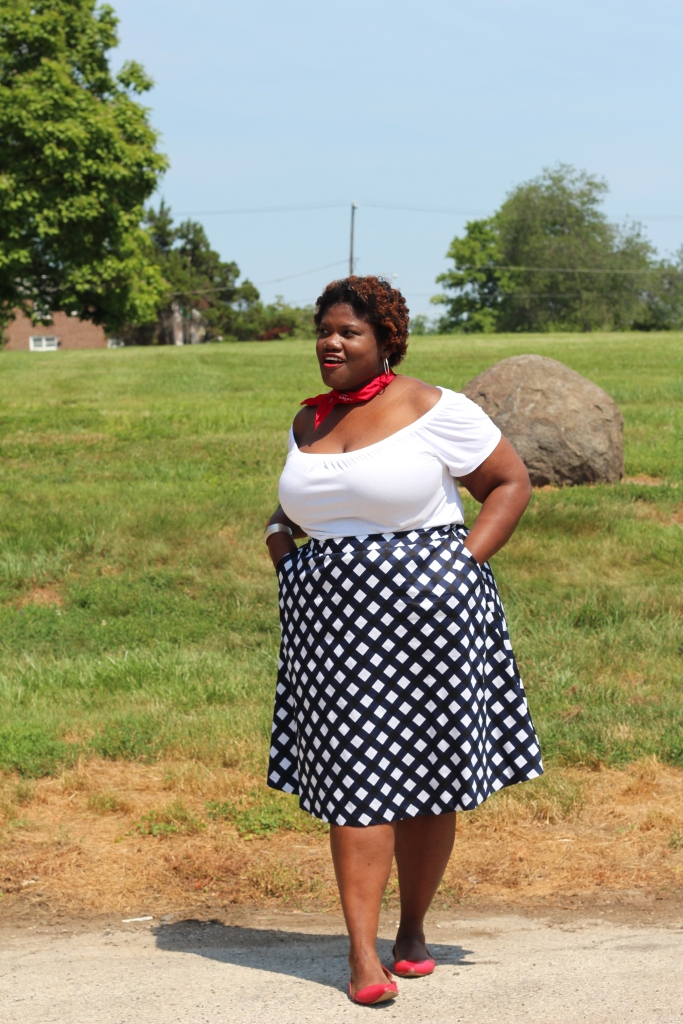 plus size skirts, midi skirts, plus size midi skirts, gingham skirts, plus size gingham skirts, gingham, 4th of july, off the shoulder tops, old navy, red flats, neck scarf, plus size blogs, plus size bloggers, curvy women, curvy, curvy blogs, curvy bloggers