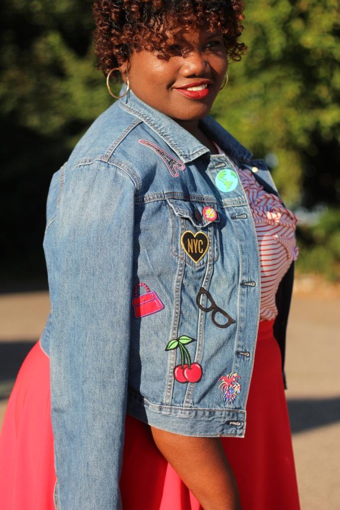 DIY, patch denim jacket, plus size denin jackets, denim jackets, fall, patches, curvy women, curvy girl,  curvy bloggers, curvy blog, blogs, fashion bloggers, fashion blog, plus size blogs, plus size bloggers, red, midi skirts, stripe shirt, stripes, stripe outfit, summer, late summer