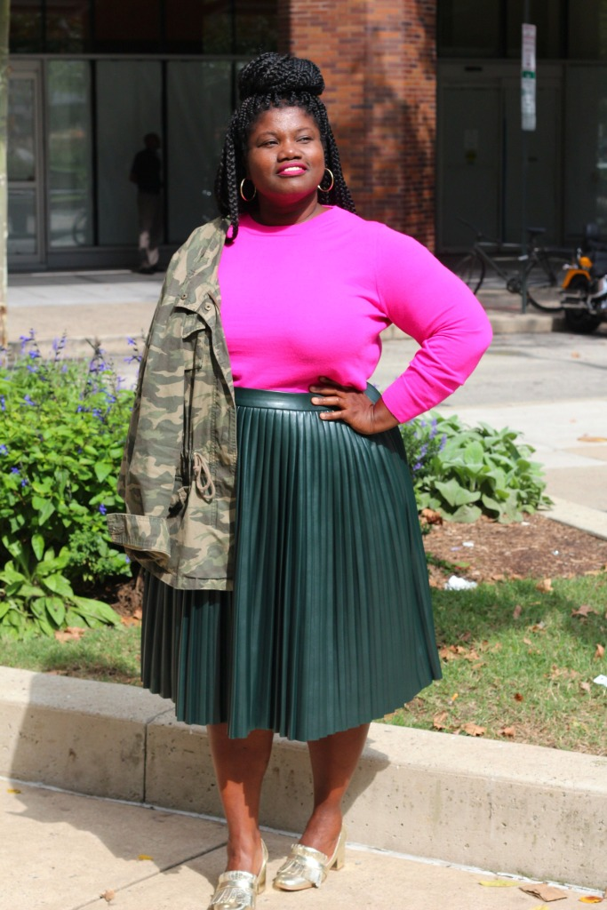 plus size fashion, plus size clothing, midi skirt, faux leather skirt, pleated skirt, plus size skirts, camo jacket, utility jacket, sweater, plus size sweaters, natural hair, loafers, gold shoes, plus size blogs, plus size bloggers, curvy women, curvy woman, curvy girls, curvy blogs, curvy bloggers