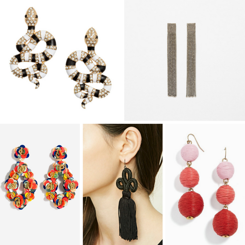statement earrings, tassel earrings, drop earrings, petal earrings, chandelier earrings, zara, h&m, jcrew, bauble bar, forever 21, rhinestones, holiday dressing, trendy earrings, plus size blog, plus size blogger, curvy blogs, holiday dressing, ideas for holiday dressing