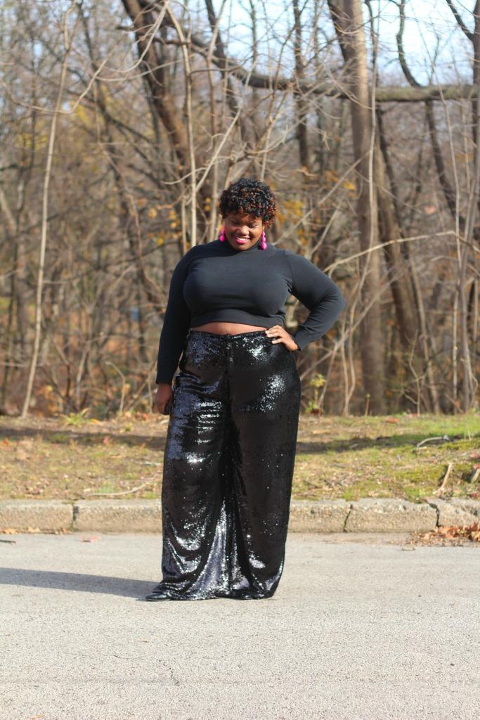 plus size fashion, plus size clothing, sequin pants, wide leg sequins pant, plus size sequins pants, sequins pants, baublebar, statement earrings, plus size blogs, plus size bloggers, curvy, curvy women, curvy girls, curvy women, curvy blogs, curvy bloggers
